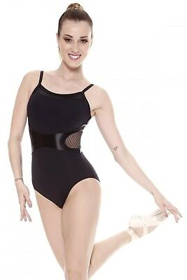 (Black, Large) - So Danca Microfibre Mesh Leotard. Delivery is Free
