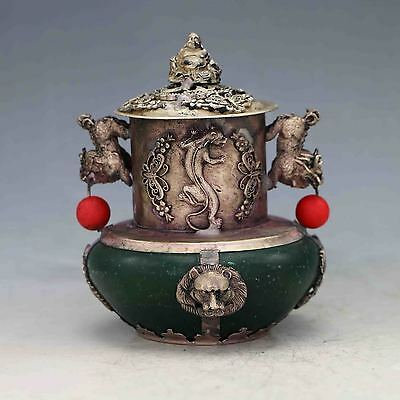 Old Chinese Green Jade Inlaid Tibetan Silver&Buddha Lid Incense Burner X0228