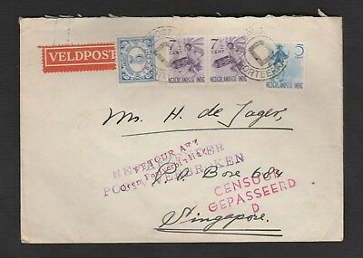 Netherlands Indies 1942 Fieldpost D censored cover SERVICE SUSPENDED > SINGAPORE