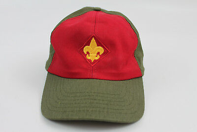Vintage BSA Boy Scouts Twill Snapback Cap Hat Red Olive Green Size M/L USA Made