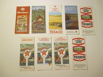 Lot of 9 Vintage Texaco Esso Canada Oil Gas Service Station Road Maps