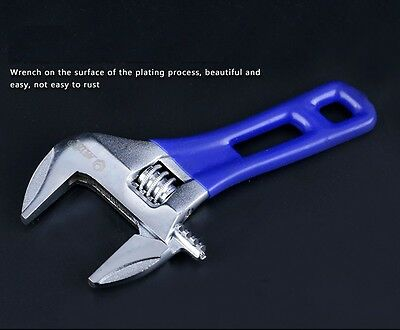 """4""""  Mini Adjustable Wrench Short Shank Large Openings Spanner with Blue Handle"""