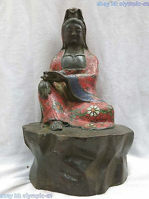 "9"" China old bronze cloisonne Copper Guanyin comfortable Kwan-yin buddha Statue"