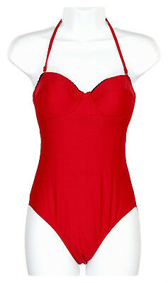 b82f67ce4c J.CREW  110 SCALLOPED Underwire One-Piece Swimsuit 14 Red Black NWT ...