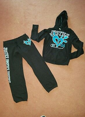 Girls Justice Sweat Pants And  Matching Hoodie Size 18