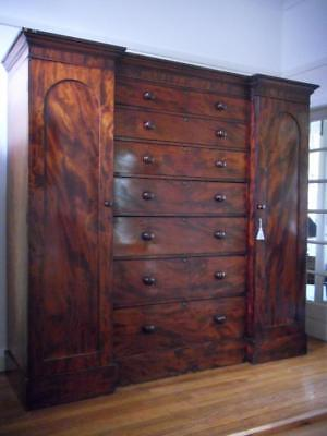 A Large Flame Mahogany Antique Breakfront Compactum Wardrobe Linen Press Armoire