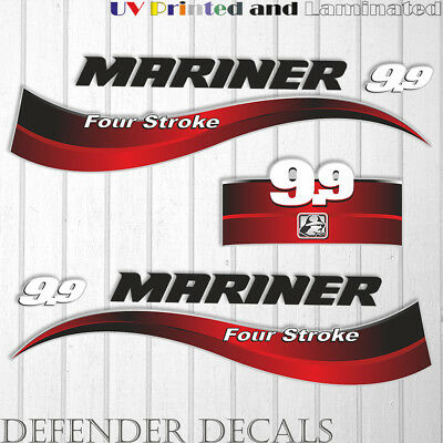 Mariner 9.9 HP four stroke outboard engine decal sticker set kit reproduction