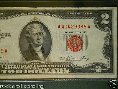1953 $2 Bill $2.00 United States Note Legal Tender AA Block Serial # A41429086A