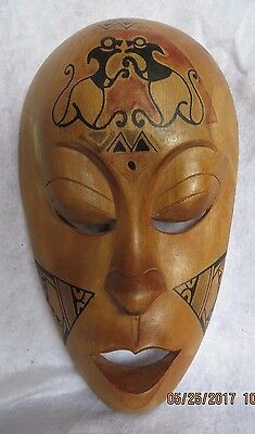 Vintage Carved Wood Painted Face Wall Mask