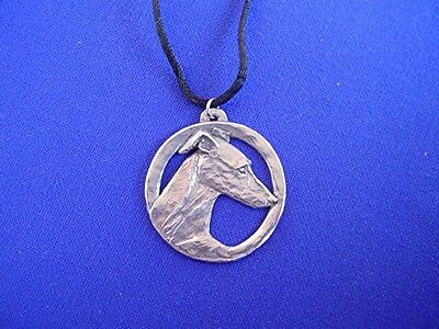 Whippet Greyhound Head Study necklace #11N Pewter Dog Jewelry b Cindy A. Conter