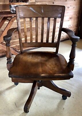Antique Vtg. Wood Rolling Swivel Office Chair 2930's