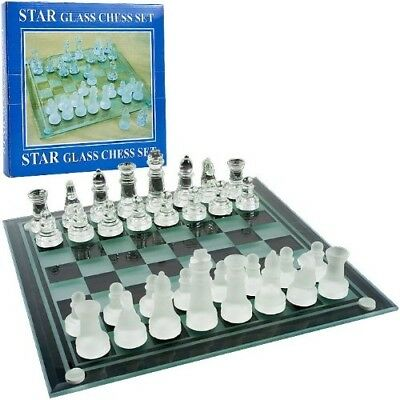 New - Elegant Glass Chess and Checker Board Set - 80-23001. Agritura