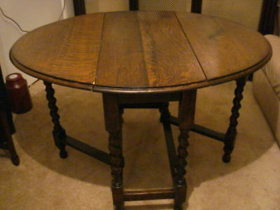 Antique Barley Twist Oak Folding Table