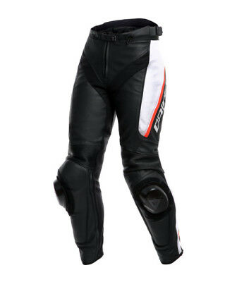 Dainese DELTA 3 Motorcycle Lady Leather Pants - Color 858 - Black / White / Red