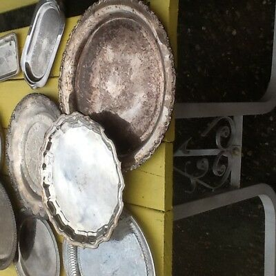 LOT 10 trays bowls dishes plates service silverplate silver wedding crafts