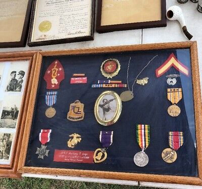 WW II PURPLE HEART RELATED PAPER EPHEMERA 8 medals  Photos  Conspicuous Service