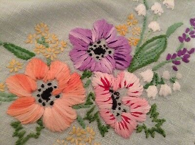 Vintage Hand Embroidered Linen  Tray Cloth  Exquisite Raised Embroidery