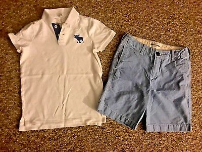 EUC ABERCROMBIE & FITCH Kid Boy Outfit Great Colors Polo Top Large, Shorts Sz 12