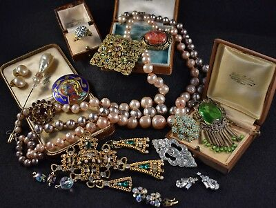 Vintage costume Jewellery mixed lot inc. signed, Art Deco, Haskell REPAIRS