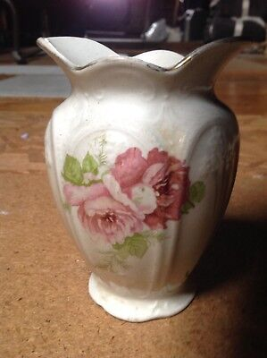 J&G MEAKIN FLORAL VASE OLD VINTAGE PRETTY SUN BACKSTAMP 13cm