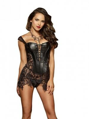 (38) - Dreamgirl Sexy Beyoncé Inspired Faux Leather Corset with Delicate