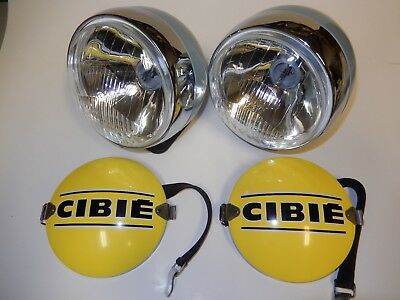 Porsche Cibie Hood mount rally driving light, pair, with covers