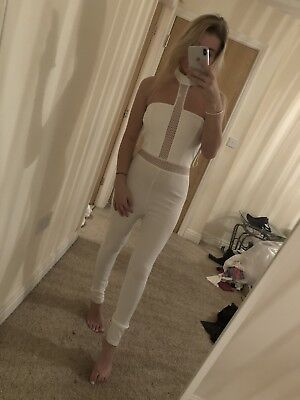 7495 Size 10 Pretty Little Thing White Crochet Bodycon Tight Jumpsuit Playsuit