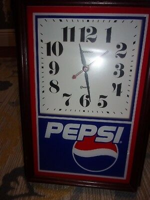 "Pepsi Wall Clock Vintage Collectable Works Great!  14""x10"""