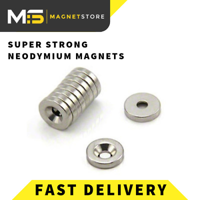 Neodymium Countersunk Ring Magnets 20mm x 3mm x 5mm Hole N42 Strong Disc Screw