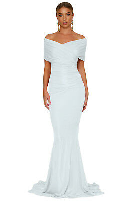 Women's Sexy White Off-shoulder Mermaid Wedding Party Gown Size 10 12 14 16 S-XL