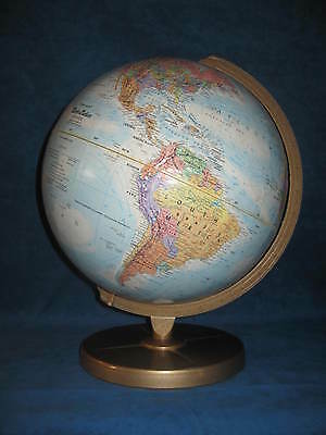 "Vtg 12"" Dia ""Replogle"" WORLD NATION SERIES GLOBE w/ Gold Metal Stand..Very Nice!"