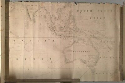 Antique Blueback Chart Map Indian Ocean 1860 James Imray Coral Sea South Pacific