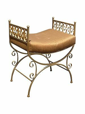 Gorgeous French Provincial Wrought Iron Gold Gilt Vanity BENCH STOOL
