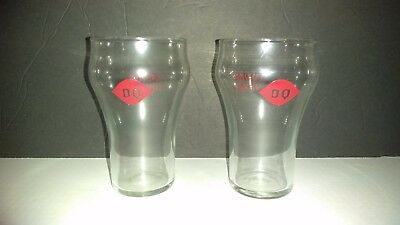Vintage Dairy Queen DQ Drinking Glass Eat Drink and Be Merry Red Logo LOT OF 2