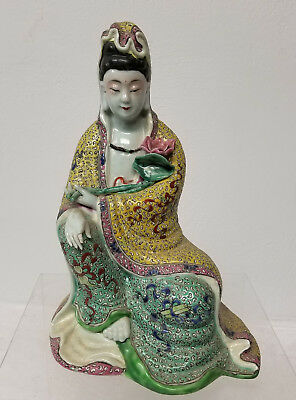Antique Vintage Chinese Signed Famille Rose Jaune Figure Lady Kwan Yin