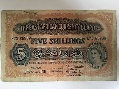 Rare Banknote - The East African Currency Board, Five Shillings