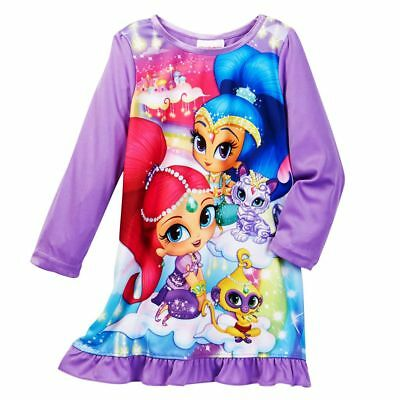 Shimmer and Shine Girls Nightgown Pajamas Purple Flame Resistant NWT Size 6