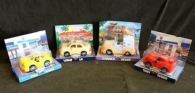 4 Chevron Gas Techron Toy Cars, Tina & Tony Turbo, Summer Scoop, Leslie LX - New