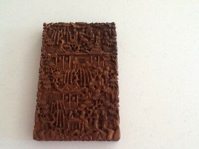 Chinese 19thC Sandalwood Carved Card Case Ex Con