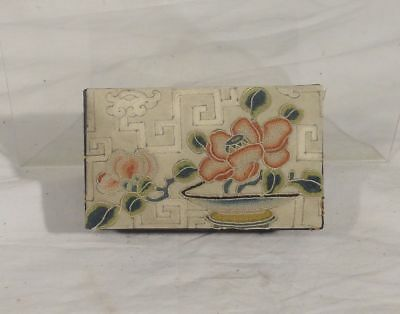 Antique Vintage Chinese Embroidered Forbidden Stitch Jewelry Box