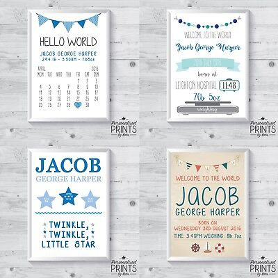 "Personalised Newborn New Born Baby Print Gift - Size 5x7"" or a4 - BOY"