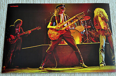 Led Zeppelin poster Jimmy Page with double neck gibson live poster RaRe!