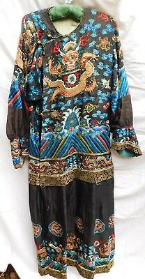 Antique 19Th Century Hand Embroidered Chinese Silk Robe Dragons / Birds / Braid
