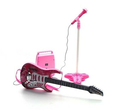 Rock Guitar with Steel Strings, Amplifiers, Adjustable stand and Microphone -