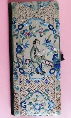 Antique Chinese Embroidered Folder, Gold Thread/ Figure / Flowers / Bridge