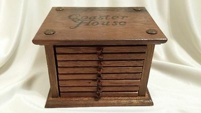 Vintage Coaster House 8 Wooden Coasters with Leather knobs in Wooden Cabinet