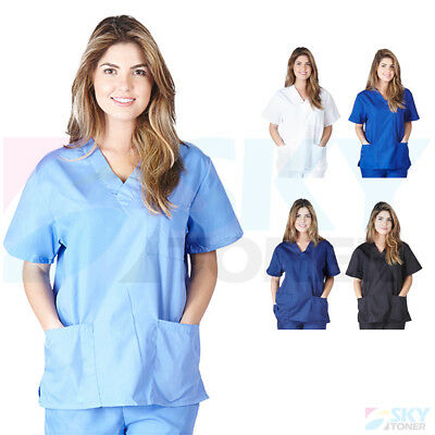 Unisex Men/Women Classic Scrub Top Medical Nursing Hospital Uniform V-Neck Shirt