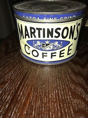 Vintage Martinson's Coffee Can With Lid
