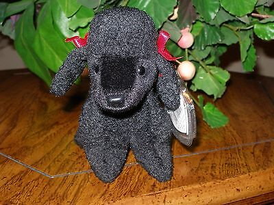 "TY~GIGI Black Poodle Dog~6"" Beanie Baby~Mint with Mint Tag~Retired~Free Ship"