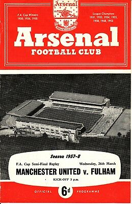 1957/58 Manchester United v Fulham FA Cup SF at Arsenal Munich season
